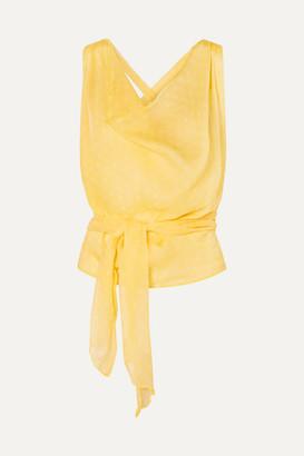 Santi Cloe Cassandro Cropped Printed Silk-crepon Top - Yellow