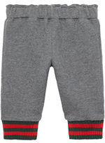 Gucci Felted Cotton Jersey Track Pants, Gray