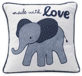 """Lambs & Ivy Elephant """"Made with Love"""" Square Throw Pillow in Indigo"""