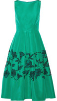 Lela Rose Embellished Laser-cut Silk-faille Dress - Jade
