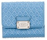 Tod's Embossed Compact Wallet w/ Tags