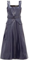 Emilia Wickstead Petra Belted Leather-effect Midi Dress - Womens - Navy