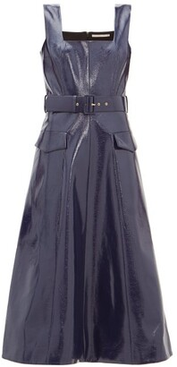 Emilia Wickstead Petra Belted Leather-effect Midi Dress - Navy