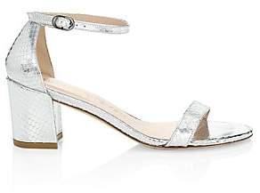 Stuart Weitzman Women's Simple Snakeskin-Embossed Metallic Leather Sandals