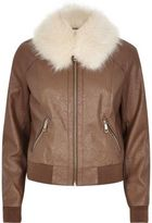 River Island Womens Brown faux fur collar jacket