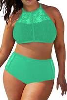 Pink Queen Women's Plus Size Mesh Padded High Waist Swimsuit Bikini Set 3XL