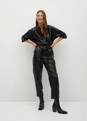 MANGO Belt faux-leather jumpsuit black - XS - Women