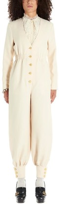 Gucci Buttoned V-Neck Jumpsuit