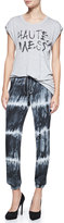 Haute Hippie Silk Tie-Dye Drawstring Harem Pants