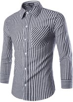uxcell Allegra K Men Basic Collar Long-sleeved Striped Casual Shirts White S