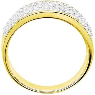 Evoke Gold Plated Sterling Silver Swarovski Crystal Band Ring
