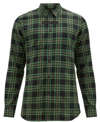 Givenchy Logo Embroidered Checked Cotton Flannel Shirt - Mens - Black Green