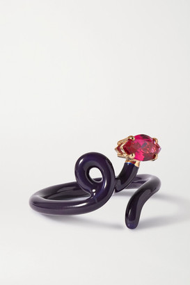 BEA BONGIASCA Baby Vine Tendril Rose Gold, Silver, Enamel And Corundum Ring - Navy