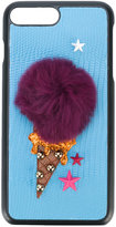Dolce & Gabbana ice-cream patch iPhone 7 plus case - women - Calf Leather/Rabbit Fur/Plastic/Viscose - One Size