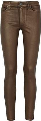 Paige Hoxton Brown Coated Skinny Jeans