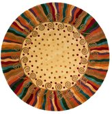 """Momeni Rugs NEWWANW-12BGE590R New Wave Collection, 100% Wool Hand Carved & Tufted Contemporary Area Rug, 5'9"""" Round"""