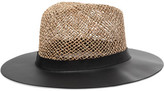 Eugenia Kim James Leather And Woven Straw Sunhat - Black