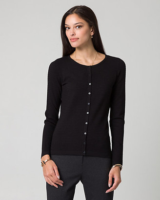 Le Château Textured Knit Button-Front Cardigan