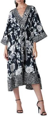 Natori Tie Dye Floral Fluid Crepe Drawstring-Waist Midi Dress