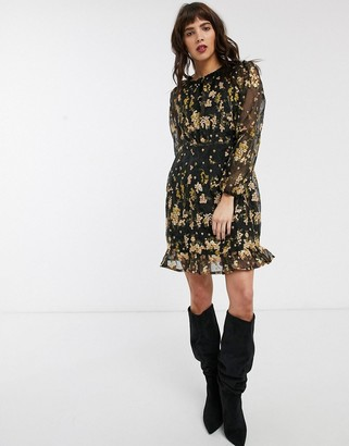 Object embroidered mini dress in black floral