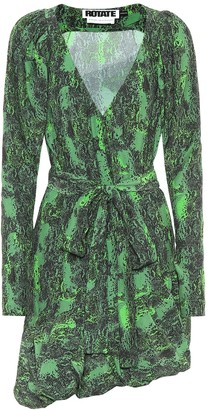 Rotate by Birger Christensen Nancy snake-print mini wrap dress