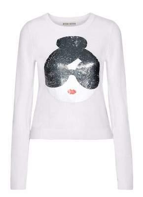 Alice + Olivia Sequin-Appliquéd Wool-Blend Sweater