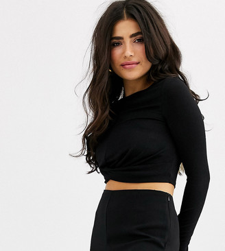 Only Petite long sleeve glitter knot front crop top