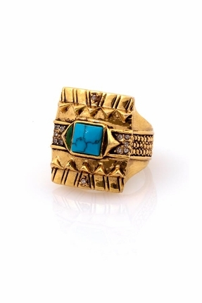 House Of Harlow Square Cocktail Ring with Turquoise