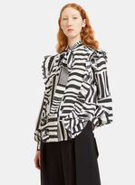 Preen Women's Billy Ruffled Grid Blouse in Black and White