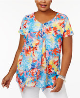 NY Collection Plus Size Printed Draped Top