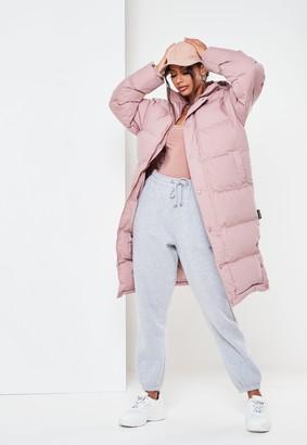 Missguided Mocha Longline Padded Puffer Coat