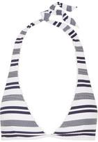 Heidi Klein Martha's Vineyard Striped Stretch-cloqué Halterneck Bikini Top - Navy