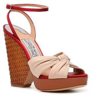 Salvatore Ferragamo Leather Wedge Sandal