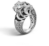 John Hardy Classic Chain Macan Double Head Diamond Ring, Size 7