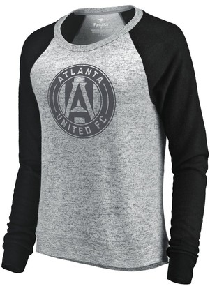 Fanatics Women's Let Loose by RNL Heathered Gray/Black Atlanta United FC Cozy Collection Tri-Blend Raglan Long Sleeve Sweater