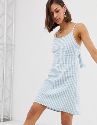 Noisy May tie back gingham mini dress-Multi