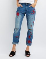 Charlotte Russe Refuge Floral Patch Boyfriend Destroyed Jeans