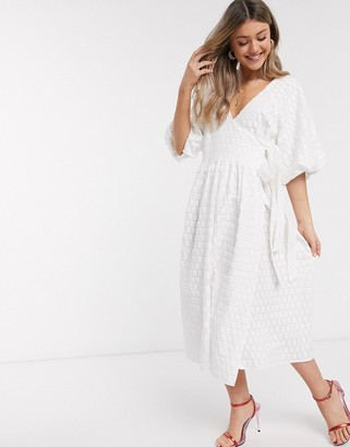ASOS DESIGN puff sleeve wrap midi dress in textured dobby in ivory