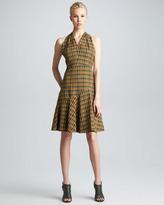 Twist-Back Plaid Dress