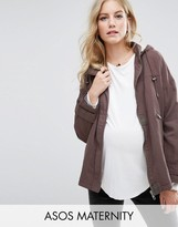 Asos Washed Lightweight Jacket with Fleece Hood