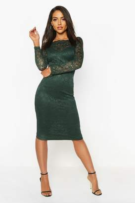boohoo Slash Neck Lace Detail Midi Dress