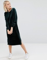 Asos Velvet Long Sleeve Column Dress