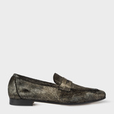 Paul Smith Women's Black And Gold Calf Hair 'Glynn' Penny Loafers