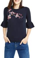 Oasis Kimono Embroidered Top, Navy