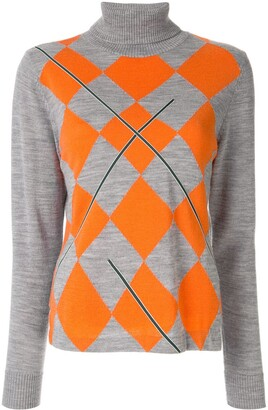 Onefifteen Embroidered Argyle Roll Neck Jumper