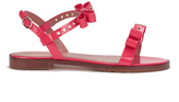 RED Valentino Women's Eyelet Bow Flat Sandals Fuchsia