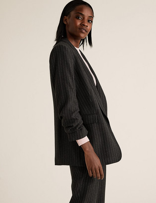 Marks and Spencer Relaxed Striped Ruched Sleeve Blazer