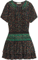 Vanessa Bruno Flory Smocked Floral-print Plissé-crepe Mini Dress - Black