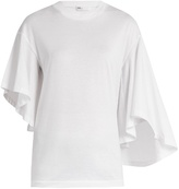 Toga Flared-sleeve cotton-jersey T-shirt