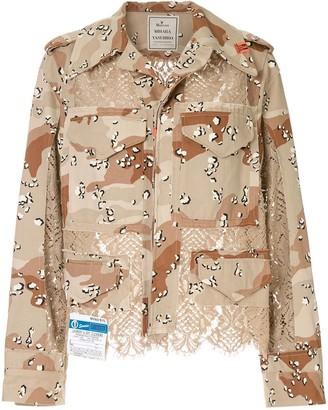 Maison Mihara Yasuhiro Lace-Panel Military Jacket